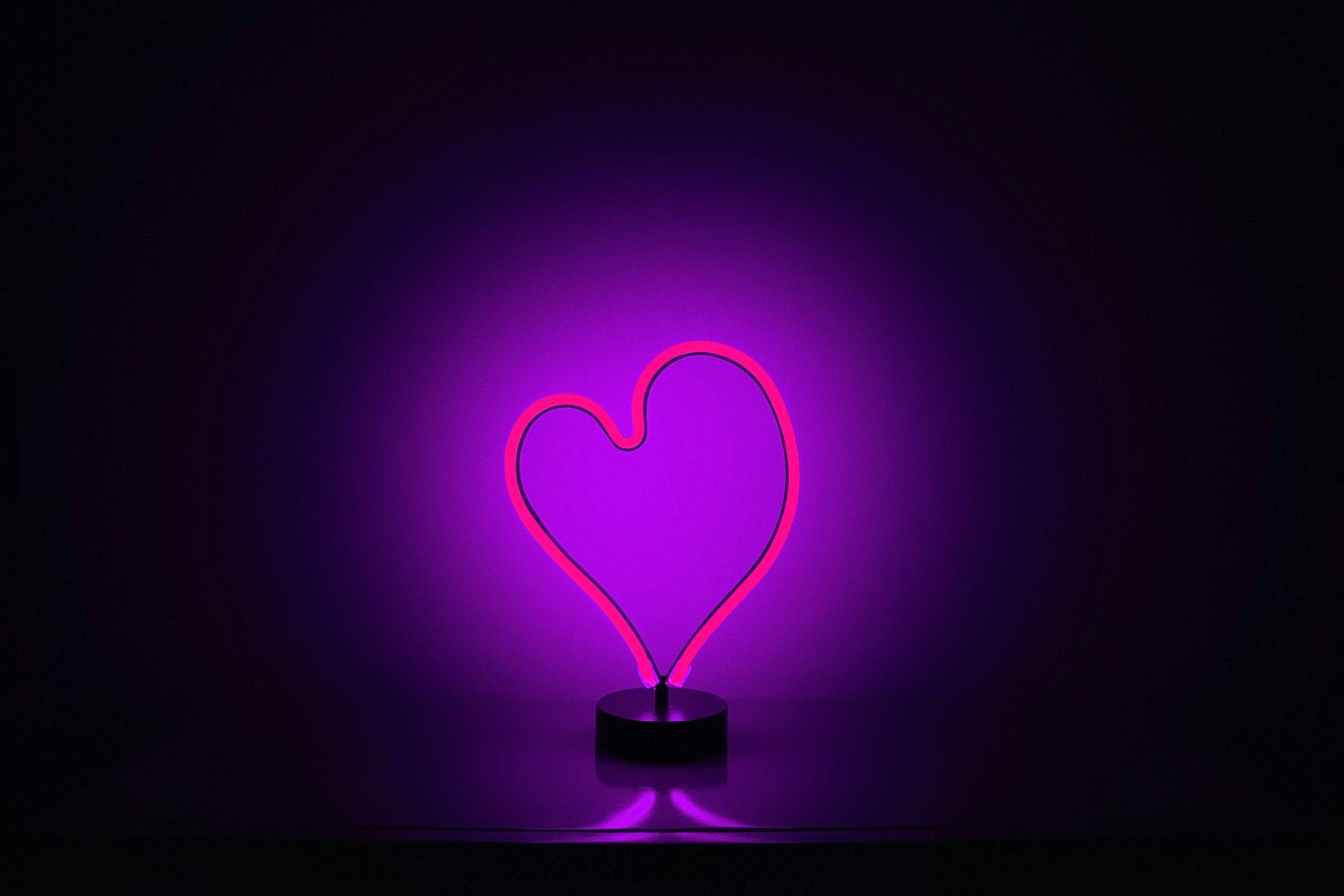 Světlo ve tvaru srdce.